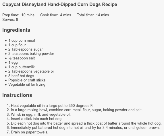 Disneyland Corn Dog Recipe CopyCat