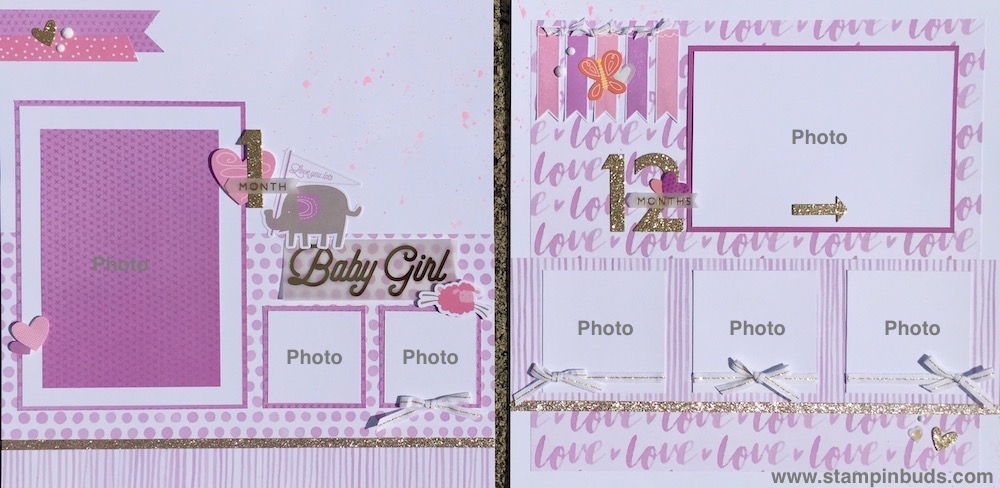 Whimsy Handmade Baby Girl Album Pages 1 & 12